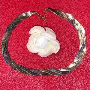 Silver Gold & Copper Tone Herringbone Necklace